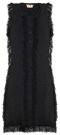 EDUN Fringed Minidress. Edun updates the LBD in contemporary fashion. A curly fringed trim for a distressed effect gives the design a slightly old-school, frayed tweed-inspired look. Fabric buttoning to the chest finishes the mini style on a subtle note. Giving While Shopping. Fashion and Invites.