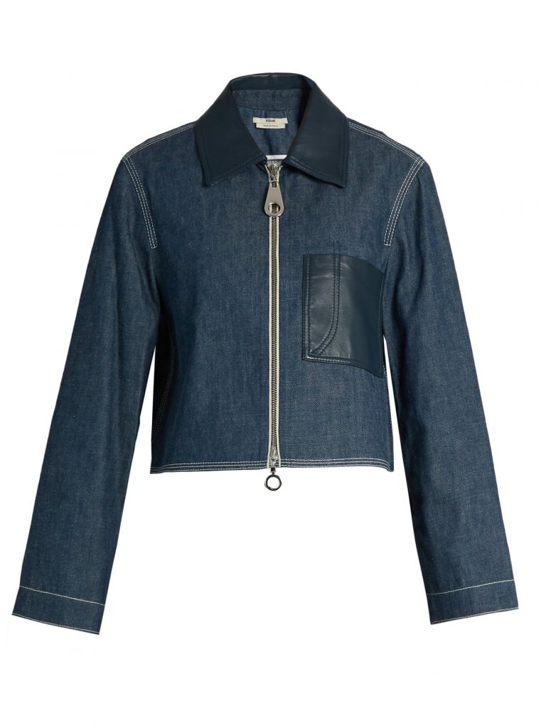 Point-collar patch-pocket denim jacket by EDUN. Giving While Shopping. Fashion and Invites.
