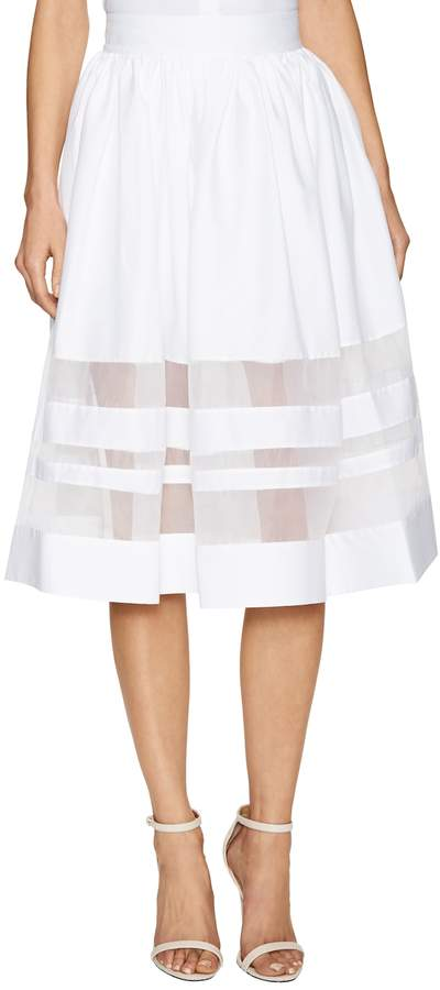alice + olivia Silk-Trim A-Line Skirt Image