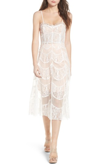 For Love & Lemons La Bella Strapless Midi Dress. Sheer Beauty - Spring 2018 - Fashion Trend #1. Fashion and Invites.