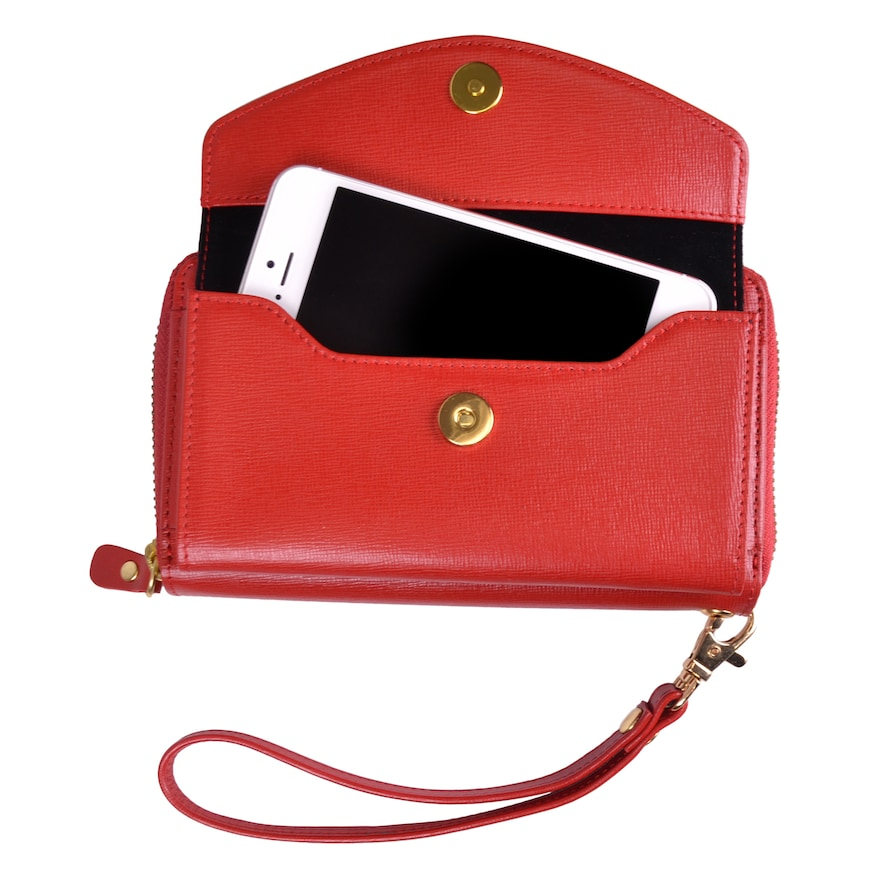 Royce Leather Saffiano Slim Cell Phone Wallet. This Royce Leather cell phone wallet keeps you fashionably connected. Vogue Valentine. Fashion and Invites.