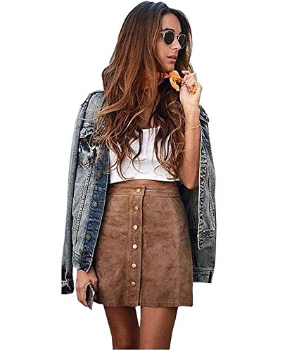 Gamery Women's High Waist Faux Suede Button Closure Plain A-Line Mini Short Skirt. Vogue Valentine. Fashion and Invites.