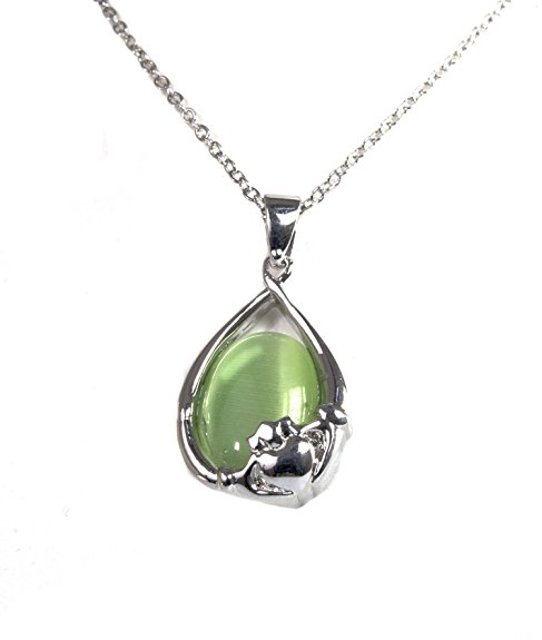 Irish Celtic Rhodium Green Cats Eye Pendant by Solvar. CLICK IMAGE TO PURCHASE.