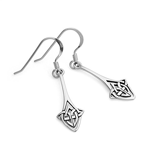 Sterling Silver Long Drop Trinity Celtic Knot Symbol Irish Jewelry Dangle Earrings. CLICK IMAGE TO PURCHASE.