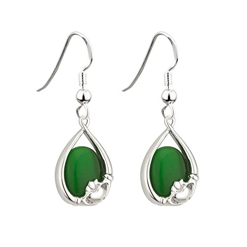 Irish Claddagh Earrings with Green Cats Eye by Solvar. CLICK IMAGE TO PURCHASE.