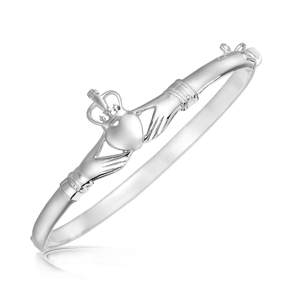 Sterling Silver Claddagh Style Thin Bangle with Rhodium Plating. $69.96. CLICK IMAGE TO PURCHASE.