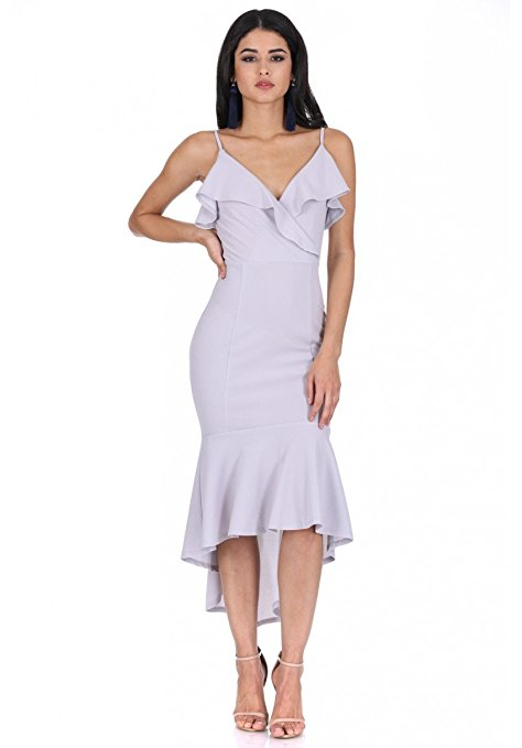 The AX Paris Women's Wrap Fishtail Midi Dress. Dress includes a flirty flared neckline with straps and an easy to fasten zip down the back. Team with a Pair of or barely-there heels and a touch of sparkle for an evening out. Color Me Happy With Pastels.