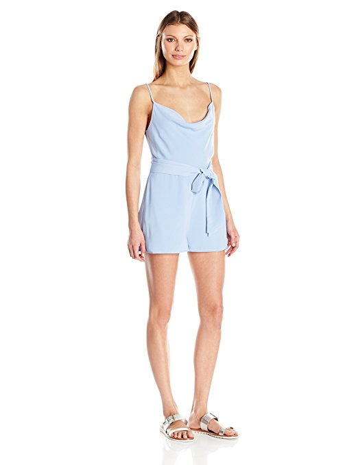 Keepsake Women's Cowl Draped Sleeveless Romper - The romper contains adjustable straps, and soft flared short. Color Me Happy With Pastels.