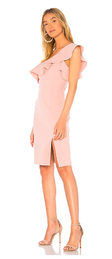 Bardot Ruffled Dress with front slit and exposed back zipper closure. Color Me Happy With Pastels.