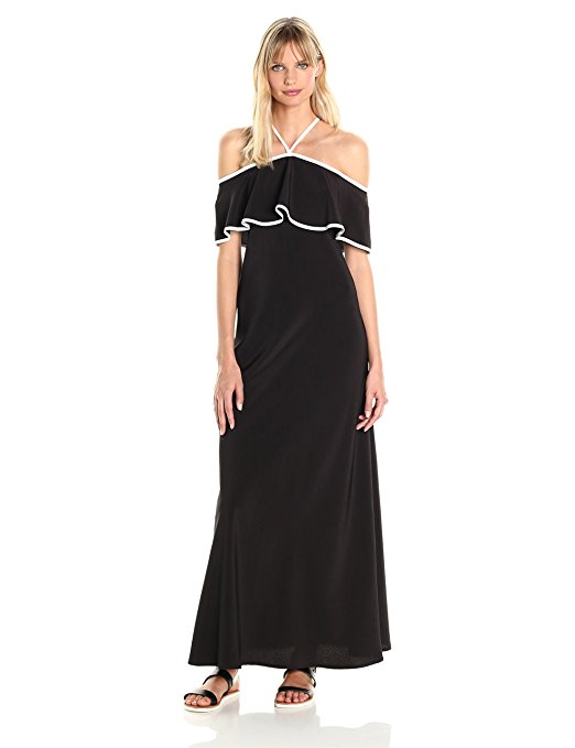 Calvin Klein Women's Off Shoulder Ruffle Maxi Dress. Solid off the shoulder ruffle maxi dress with contrast piping detail. CLICK IMAGE FOR DETAILS.
