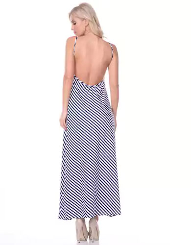 White Mark Striped Maxi Dress. Enjoy warm weather in style with this women's White Mark maxi dress. Dress contains a striped pattern, scooped back, and V-neck. Earn Your Fashion Stripes