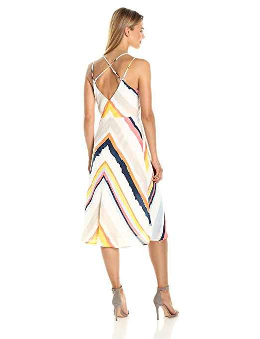 Cupcakes and Cashmere Women's Pryec Printed Sweetheart Stripe Midi Dress. Earn Your Fashion Stripes.