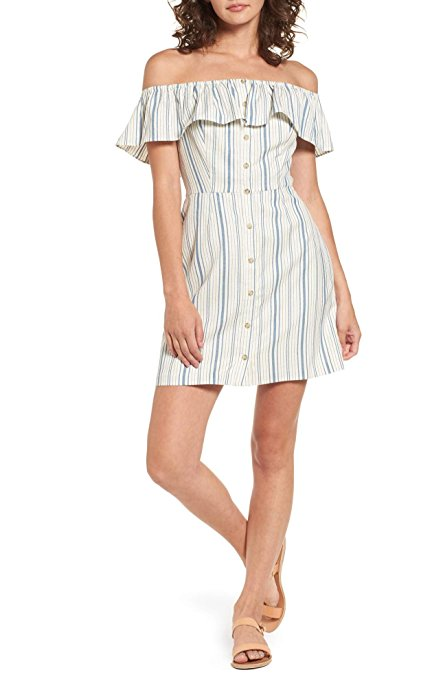 WAYF Women's Striped Off-The-Shoulder Casual Dress. The dress is button front and above the knee. Earn Your Fashion Stripes.