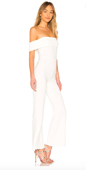 By The Way's Aubrey Off-Shoulder Jumpsuit. The jumpsuit features a fold over fabric neckline and hidden back zipper closure.