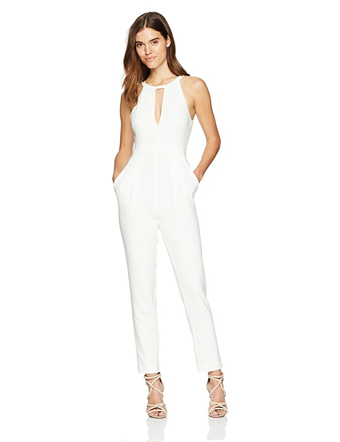 BCBG MAX AZRIA Women's Hailee Open-Back Jumpsuit.Who needs a great dress when you have a remarkable jumpsuit? A chic open-back and keyhole features are bound to garner you plenty of admirers.