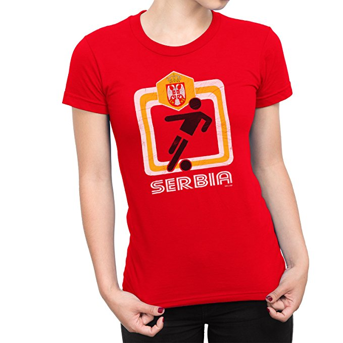 Serbia Ladies T-Shirt Football World Cup 2018 Women's Retro Square