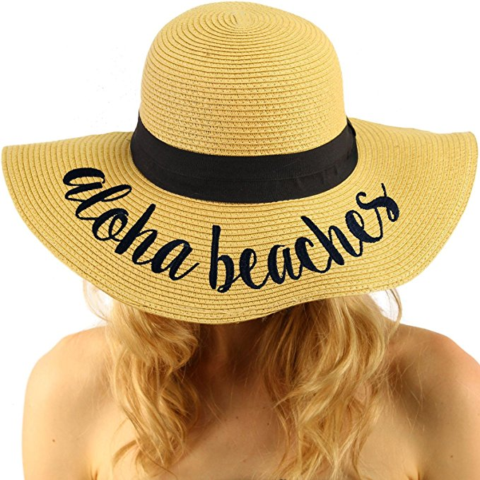 Aloha Beaches Hat. Elegant Wide Brim Summer Beach Floppy Hat. This hat is one size fits all. Straw Hats Off To You!
