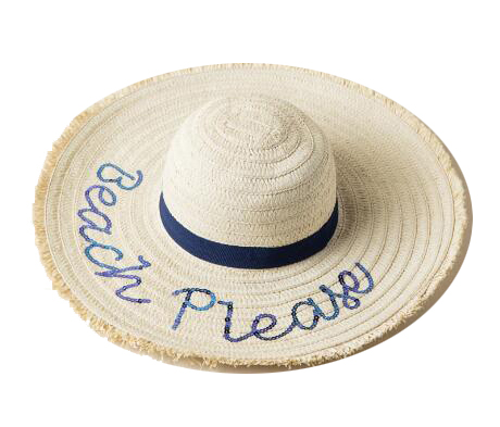 Beach Please Floppy Hat. This one-size-fits-all straw hat contains navy sequins. Straw Hats Off To You!