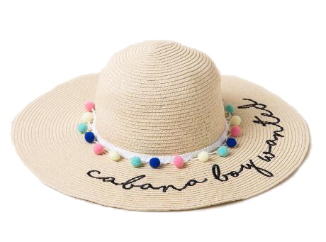 Cabana Boy Wanted Floppy Hat. This beautiful straw hat contains multicolored mini pom poms. Hats Off To You!