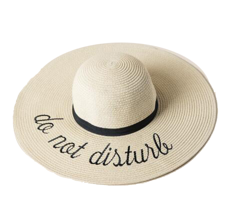 Do Not Disturb Floppy Hat. This one-size-fits-all imported straw hat contains a black band. Straw Hats Off To You!