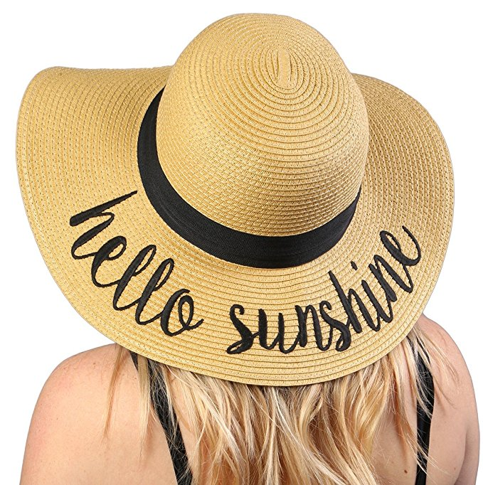Embroidered Adjustable Beach Floppy Sun Hat. Bold cursive lettering will showcase your current mood while you relax and soak up the sun. Straw Hats Off To You!