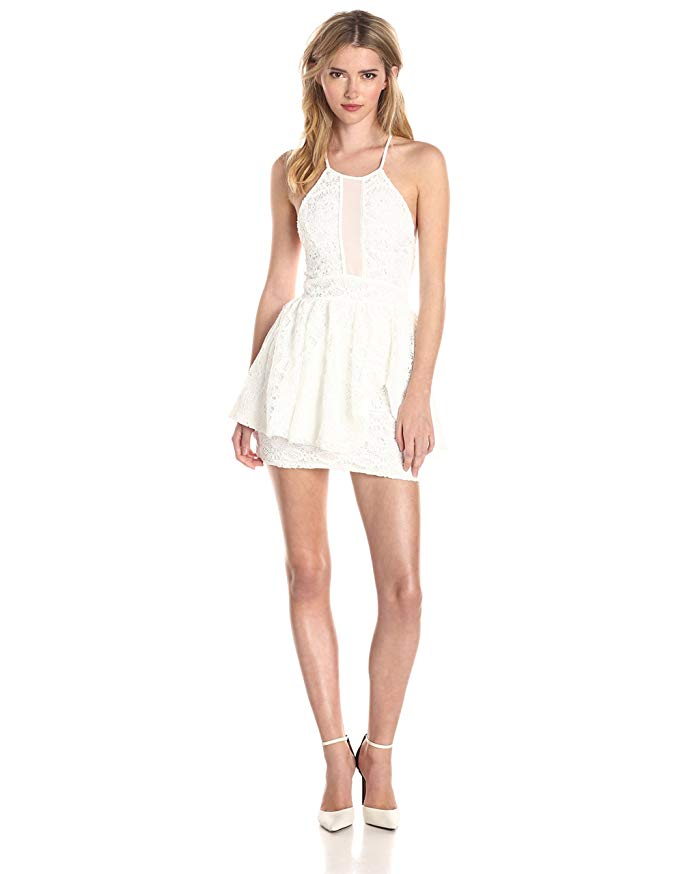 Kiss and Tell Fit and Flare Dress with Lace Detail by Lovers + Friends. Summer White Wardrobe.