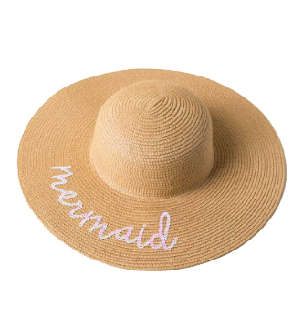 Sequin Mermaid Straw Hat. This one-size-fits-all imported straw hat contains sequin writing. Straw Hats Off To You!