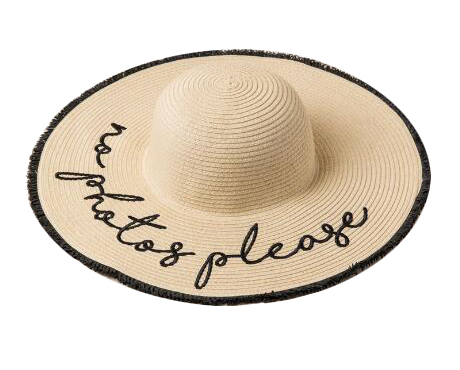 No Photos Please Straw Hat. This one-size-fits-all straw hat contains frayed edges. Straw Hats Off To You!