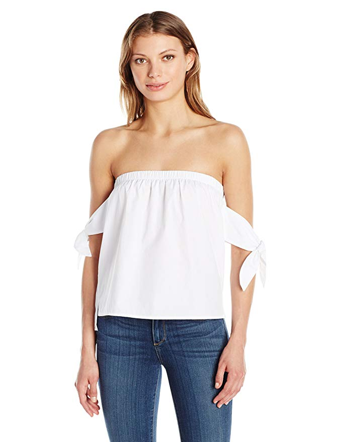 JOA Women's Off The Shoulder Knot Tie Sleeve Top. Summer White Wardrobe.