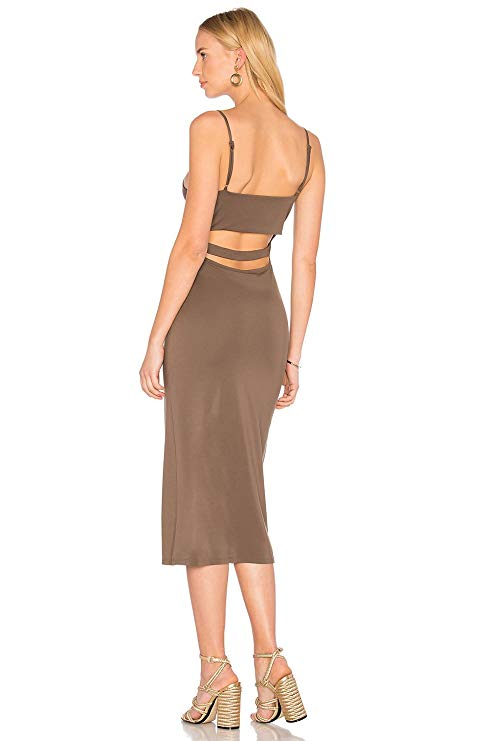Privacy Please Elliot Back Cut Out Dress Army.