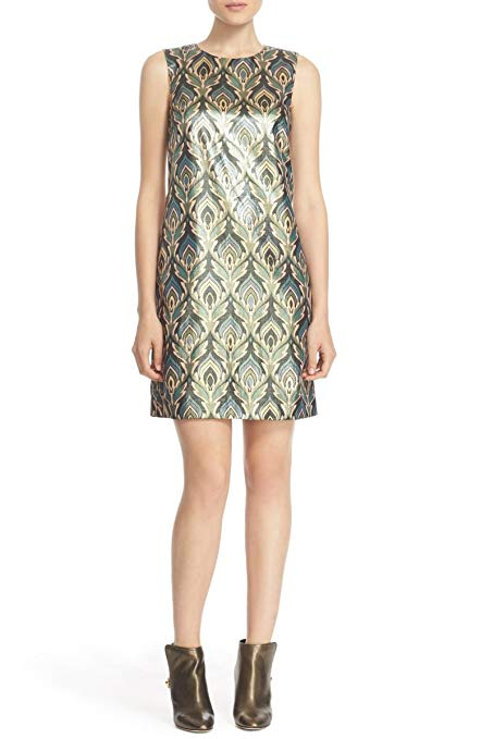 Flame Metallic Shift Dress by M Missoni. Crazy Rich Asians.