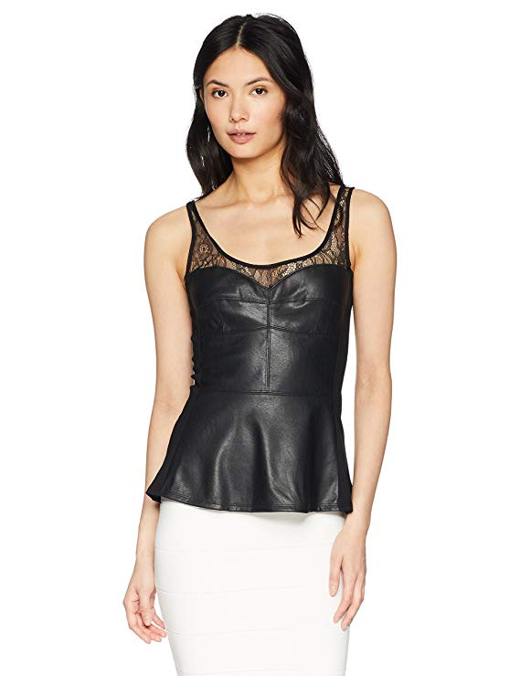 BCBGMAXAZRIA Faux Leather Lace Trim Top. Image