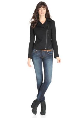 James Jeans Women's Ponte Combo Motorcycle Jacket. Fashion Invite App.