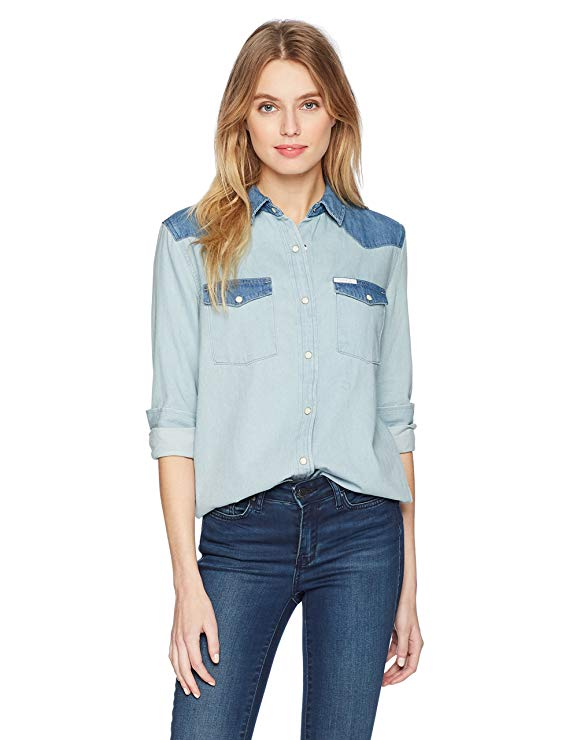 Calvin Klein Jeans Long Sleeve Denim Button Down Shirt. Cowgirl Fall 2018.