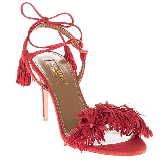 Aquazzura Fringed Sandal Heel Image