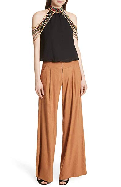 Alice + Olivia Eric Pleated Front Linen Wide Leg Tan Palazzo Pants.  CLICK IMAGE TO PURCHASE.