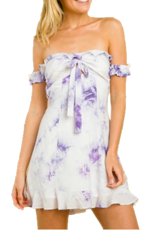 Tie Dye Dress. Tie dye ruched sleeve off the shoulder dress with zip back closure. Lined. CLICK IMAGE TO PURCHASE.