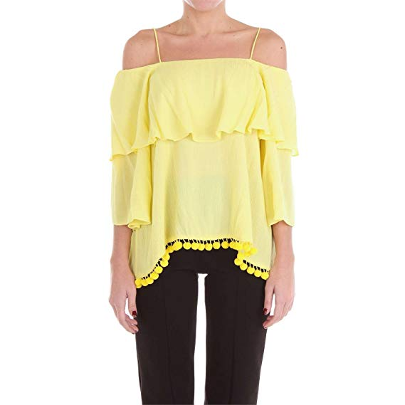Meagan Off-The-Shoulder Pompom Yellow Crepon Top by Alice + Olivia.  CLICK IMAGE TO PURCHASE.