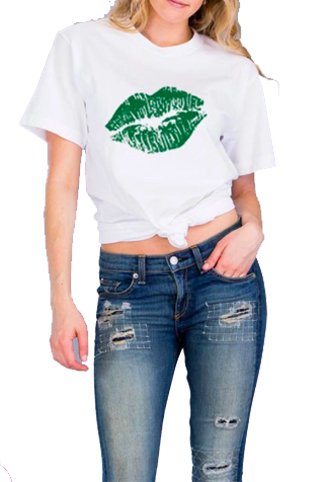 Irish Lips Tee.  White, boxy cut tee with green lips graphic. Perfect for St. Patrick's Day!