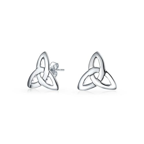 Irish Triquetra Celtic Trinity Knot Small Stud Earrings 925 Sterling Silver Polished Finish