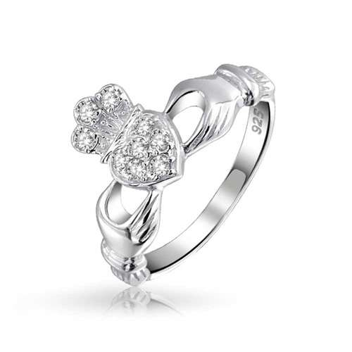 Silver Irish Celtic Pave CZ Friendship Claddagh Ring