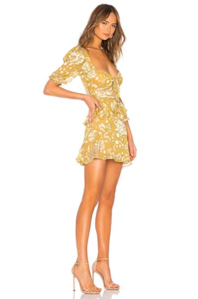 For Love and Lemons Cosmo Mini Dress Mustard Image