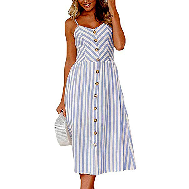 Angashion Summer Floral Bohemian Spaghetti Strap Button Down Swing Midi Dress with Pockets